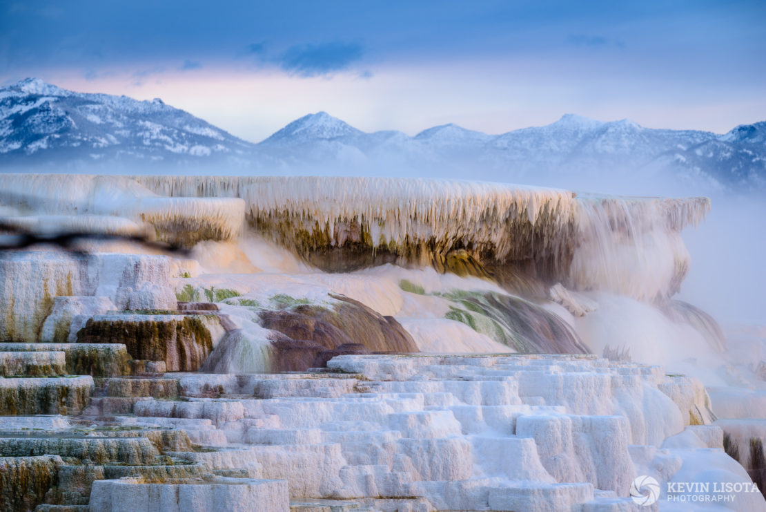 Travertine terraces at Mammoth Hot Springs, Yellowstone National Park in winter