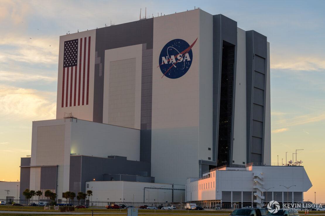 NASA Vehicle Assembly Building (VAB) at sunset