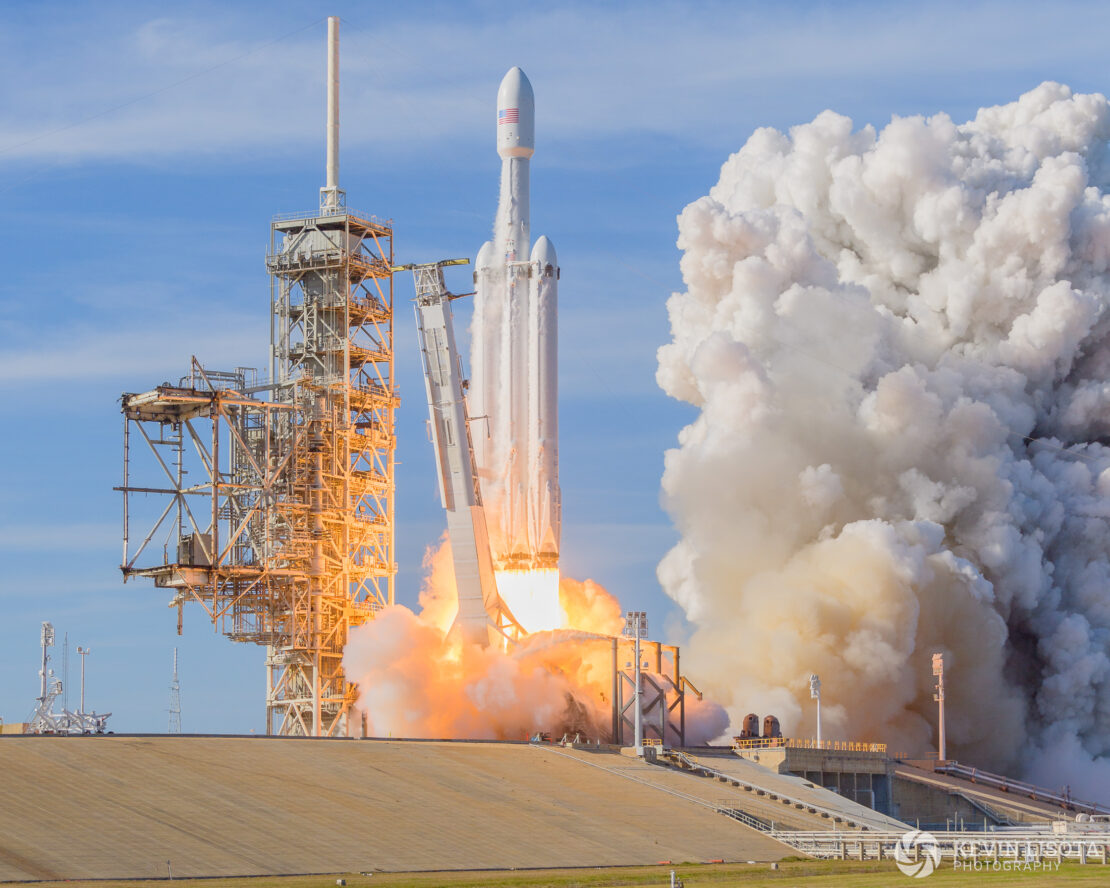 Liftoff of SpaceX Falcon Heavy launch from ~1200 ft away