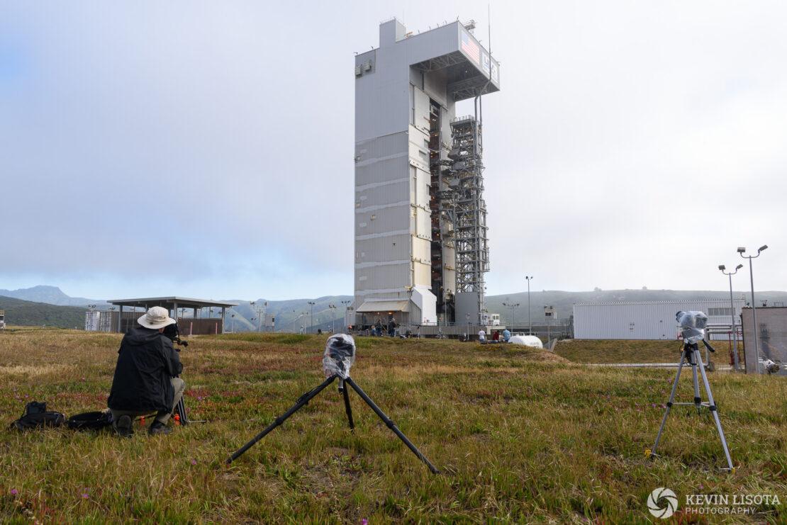 Atlas V rocket awaits launch of Mars InSight inside servicing tower
