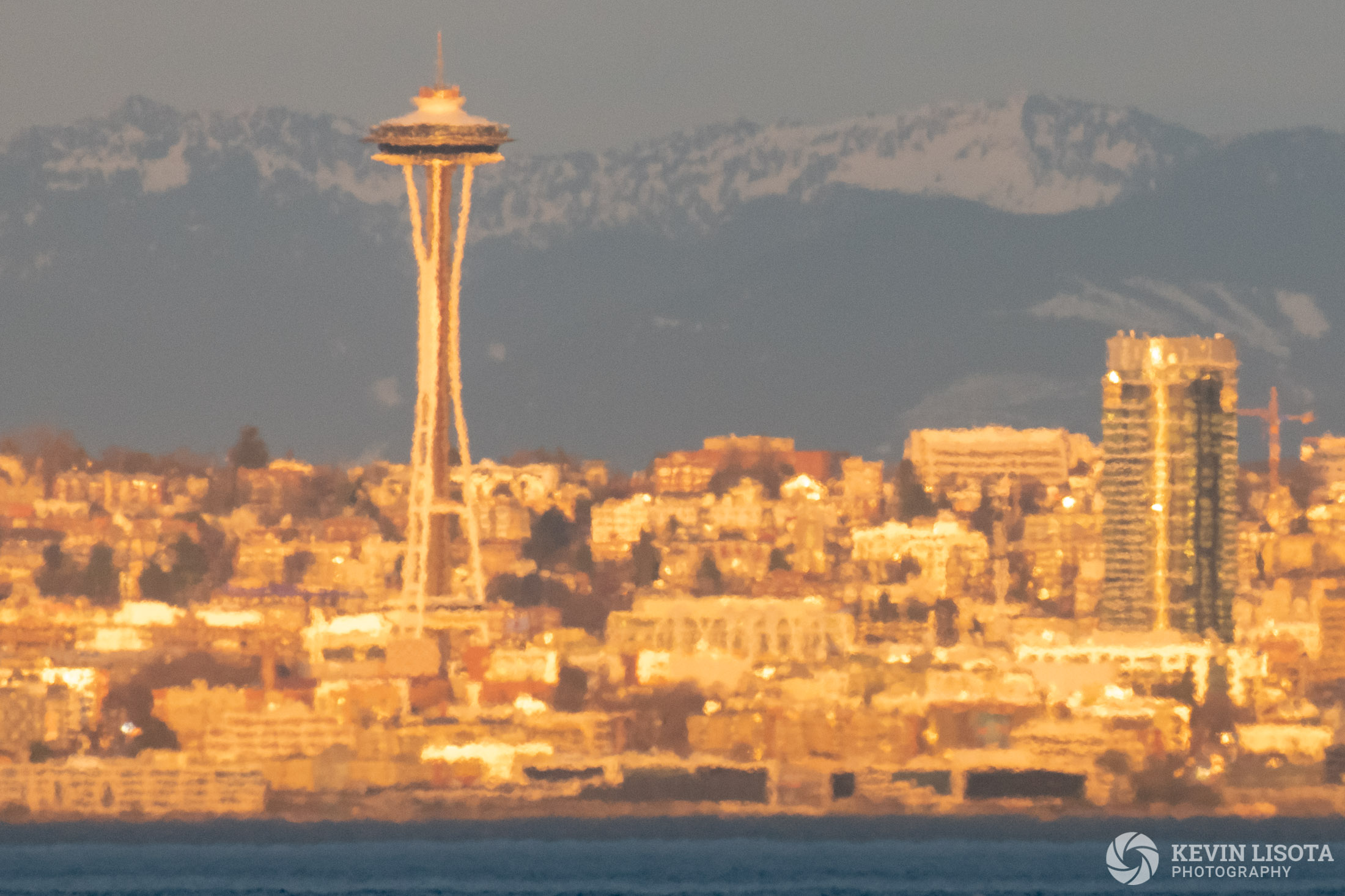 Heat distortion of Seattle Skyline taken from 7 miles away over Puget Sound.