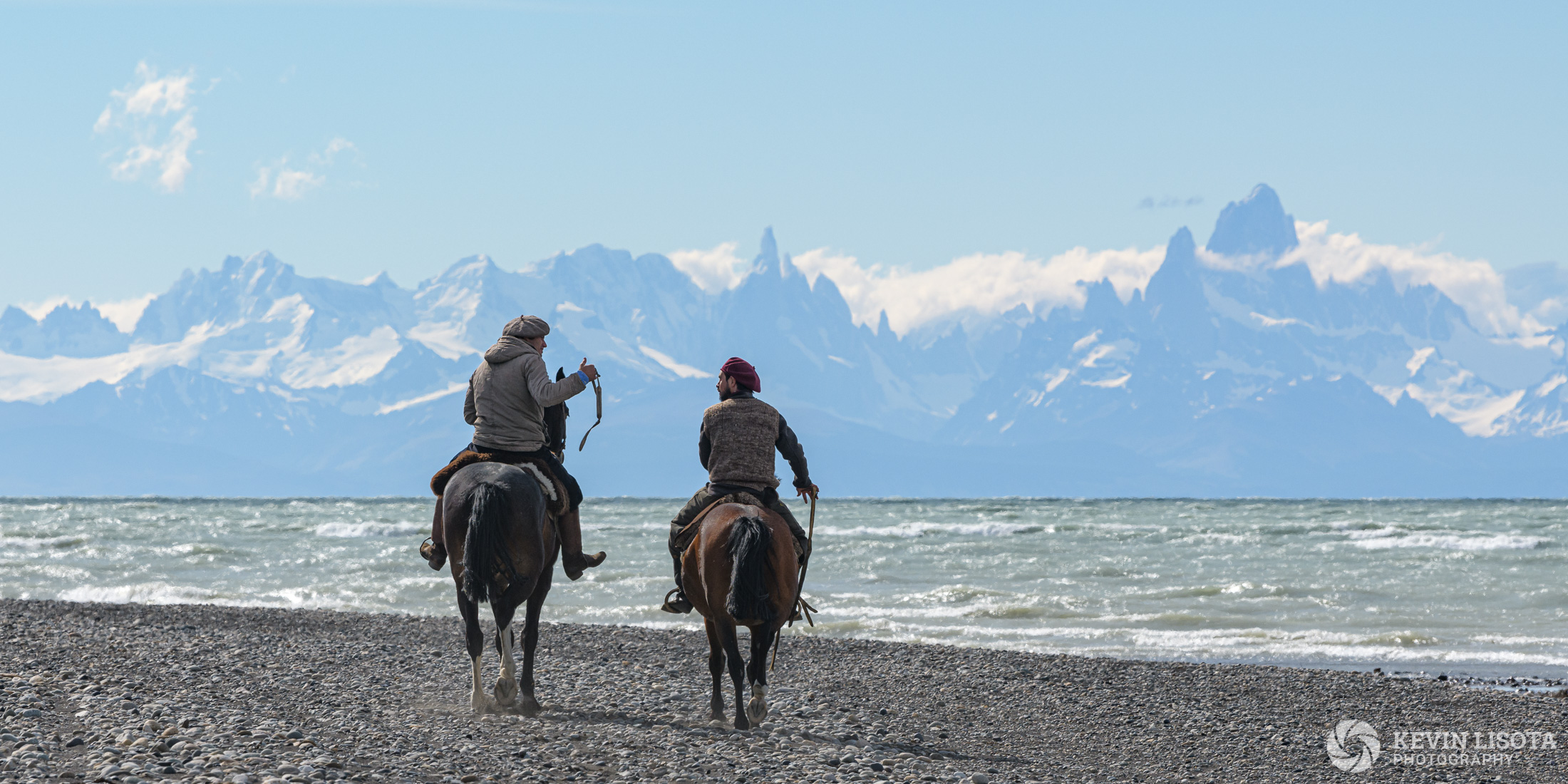 Gauchos on the shore of Lake Viedma