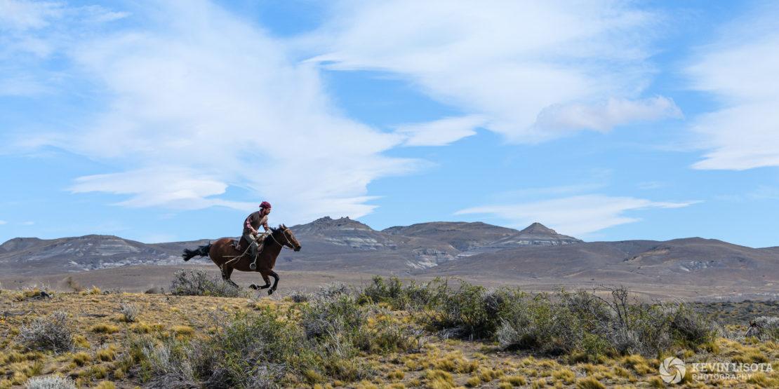 Gaucho gallops across the Patagonia plains on horseback
