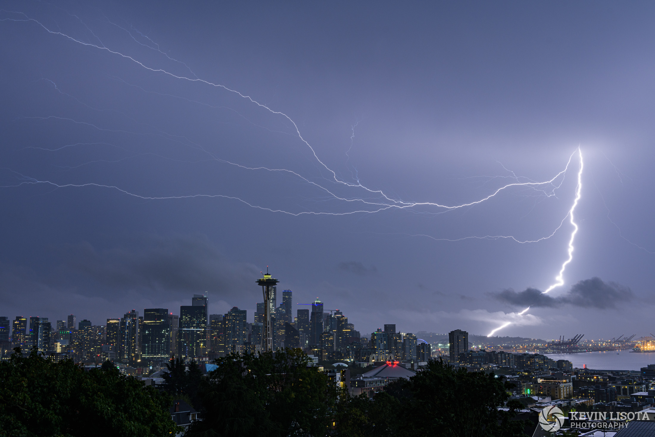 Lightning storm over Seattle