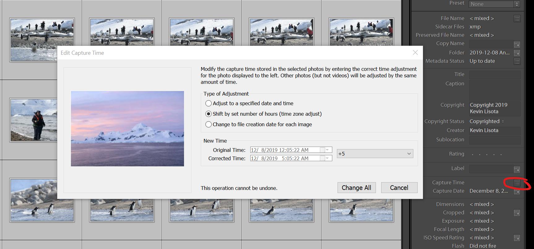 Edit Capture Time in Lightroom