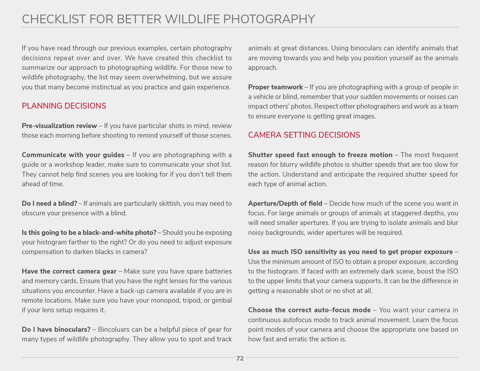Wildlife Photography - Checklist