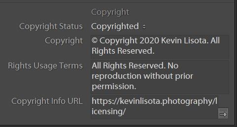 Lightroom Classic IPTC Copyright Notice field