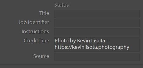 Lightroom Credit Line metadata field