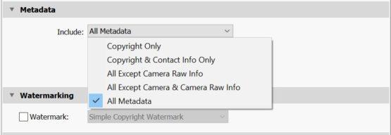 Lightroom metadata export settings